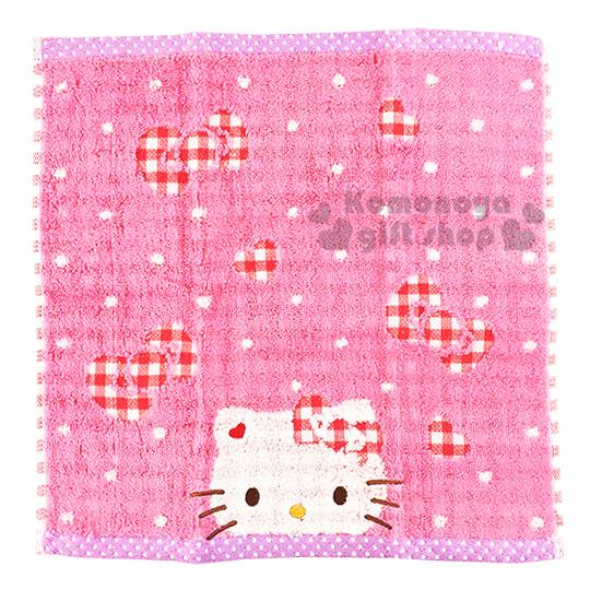 〔小禮堂〕 Kitty 日本內野Uchino方形毛巾《粉.大臉.點點.格紋蝴蝶結.紫邊》34x34cm