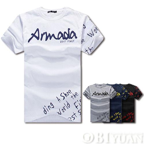 短袖上衣【JG1310  】OBI YUAN 韓版簡約草寫字母ARMADA印花短袖T恤共4色
