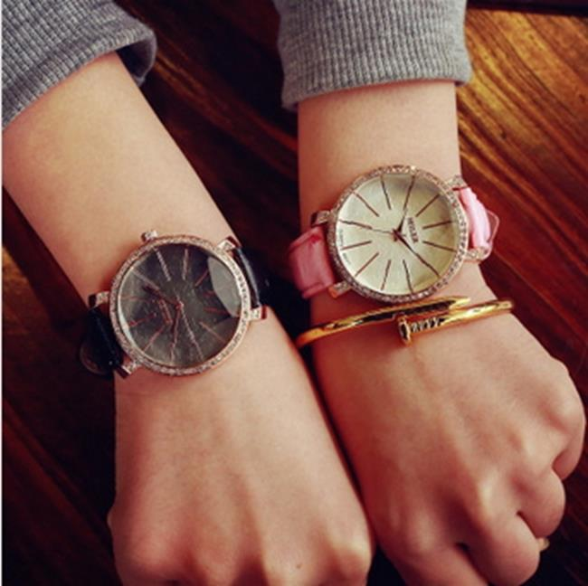50%OFF【H010875WAH】韓版復古簡約女學生韓國潮流時尚水鑽女腕表石英休閒時裝皮帶手錶