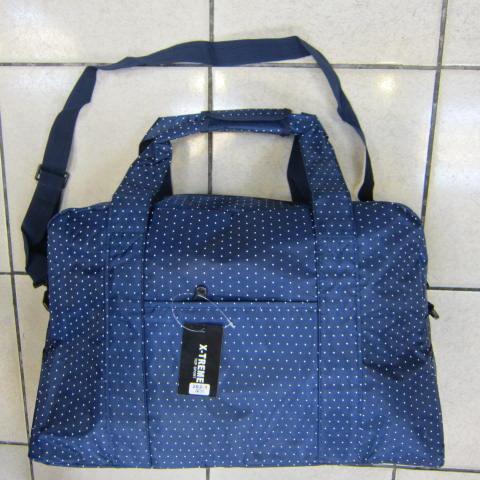 ~雪黛屋~X-TREME小點點可愛旅行袋防水尼龍布材質超大購物袋 大容量 好收納不占空間XT262 深藍