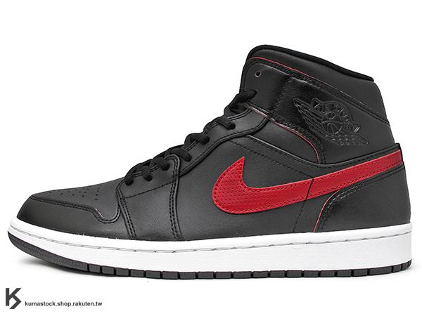 2016 經典重現 復刻鞋款 搭配定番配色 NIKE AIR JORDAN 1 MID BLACK RED 男鞋 黑紅 黑紅白 紅勾 厚鞋舌 皮革 AJ (554724-009) 1016