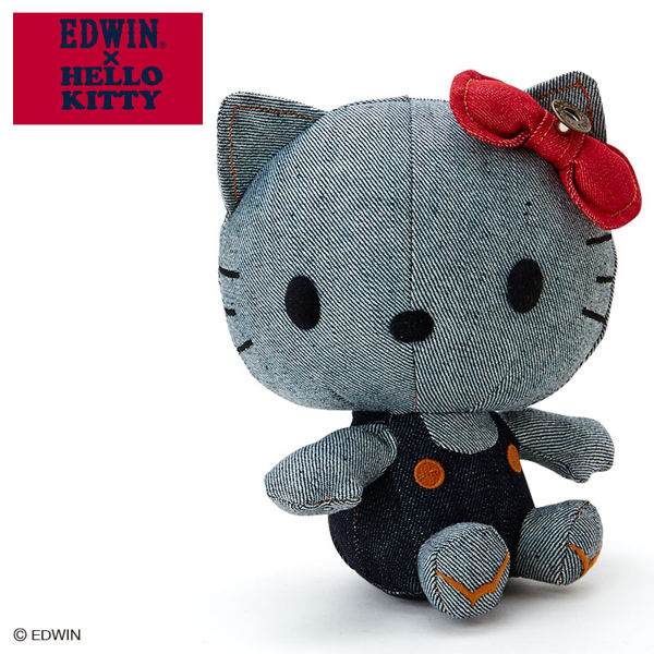 KITTY EDWIN聯名玩偶娃娃絨毛丹寧吊帶牛仔褲076121海渡
