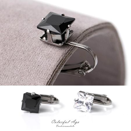 夾式耳環 閃耀動人 鋼製8MM方形奧地利水鑽耳環 抗過敏 精緻單品 柒彩年代【ND365】單支售價