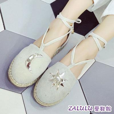 ☼zalulu愛鞋館☼ GE164 現貨 必備款綁帶不對稱星星月亮平底鞋-偏小-白/粉/藍/綠-36-39