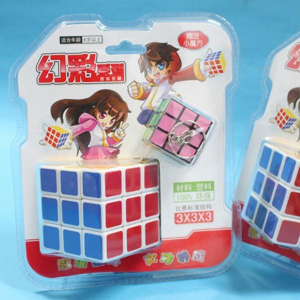 大+小魔術方塊 幻彩魔術方塊 3x3標準比賽級 5.7cm X 5.7cm(白底)/一卡入{促100}~睿-608-5