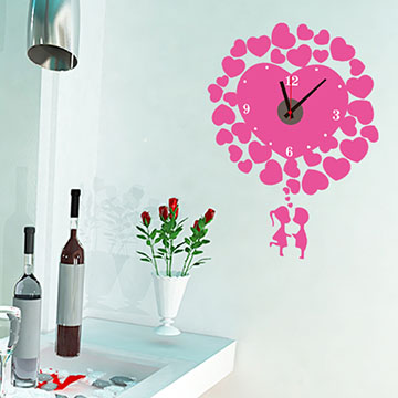 WallFree窩自在 韓版-新款DIY創意壁貼時鐘_SA-1-009愛心滿滿(粉)(附靜音機芯)