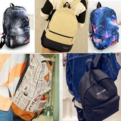 (現貨 附發票)後背包 36款韓風系時尚學院厚款豬鼻包/報紙包/翹鬍包/星空包/書包 / 寶來小舖
