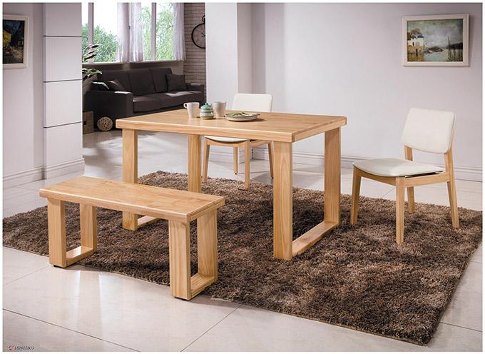 【尚品傢俱】HY-A415-04 羅本北歐原木4.3尺全實木餐桌