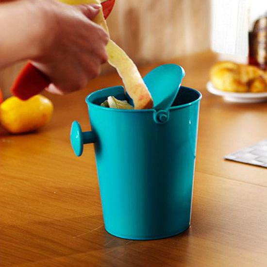 ♚MY COLOR♚桌面搖蓋式垃圾桶 收納筒 化妝檯 桌上 小號 家用 時尚 辦公室 輕巧 迷你【R63】