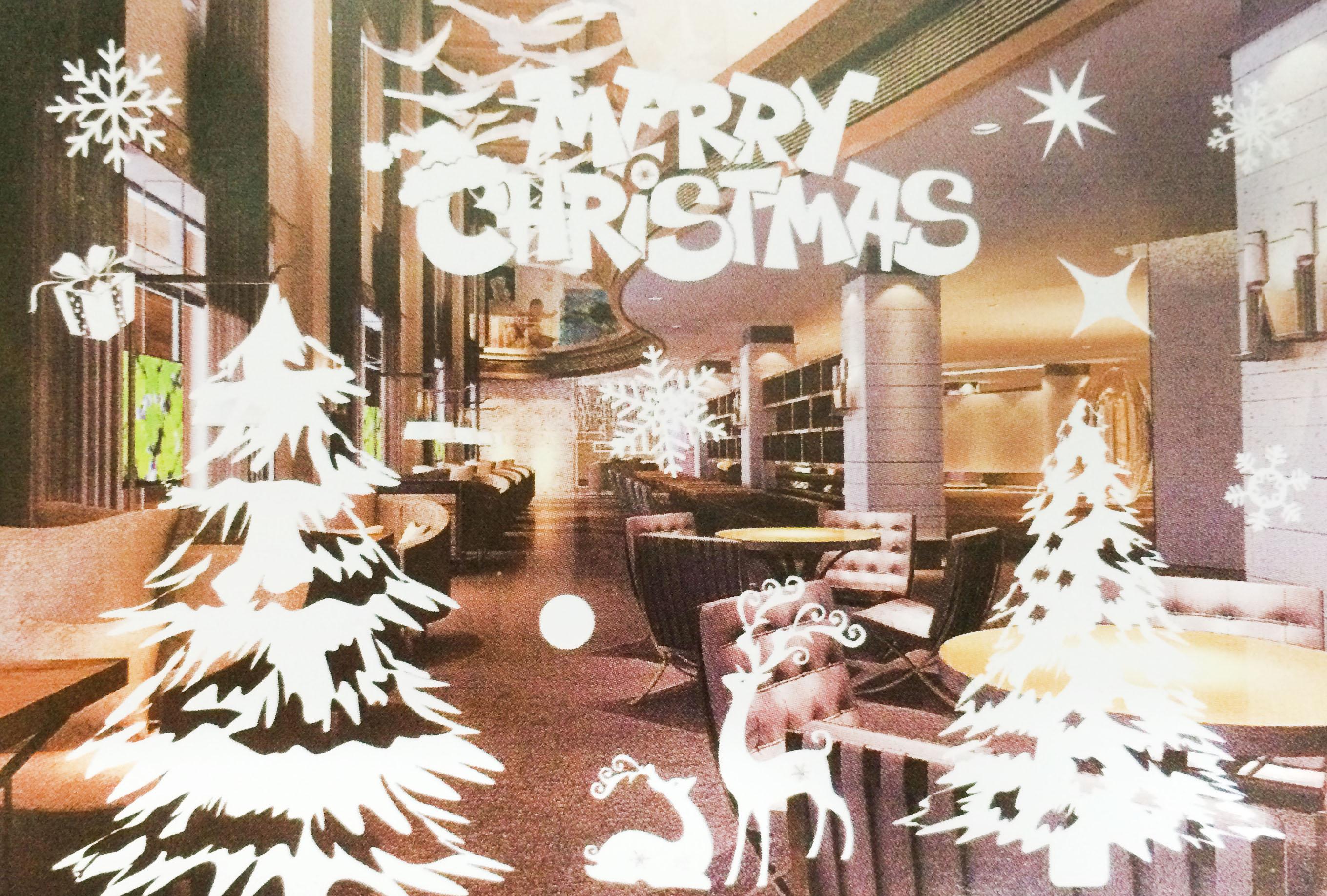 X射線【X150010】麋鹿聖誕樹(白色) 靜電窗貼,聖誕節/聖誕擺飾/聖誕佈置/聖誕造景/聖誕裝飾/玻璃貼/牆面佈置/壁貼