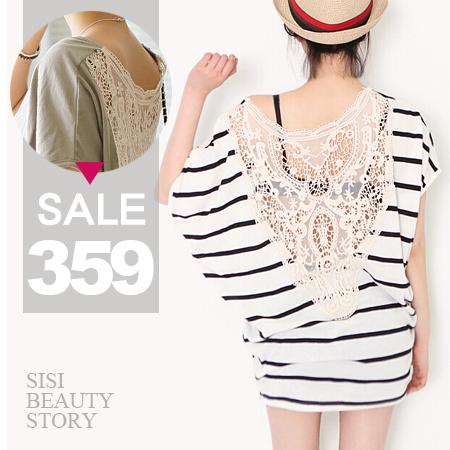 SISI【D6108】寬鬆蝙蝠袖背鏤空蕾絲拼接包臀中長版T恤連身裙洋裝