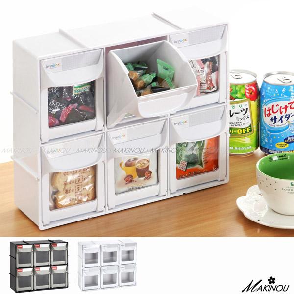 收納盒|日本MAKINOU-快取可視窗6格分類盒 -台灣製|置物箱 塑膠收納箱