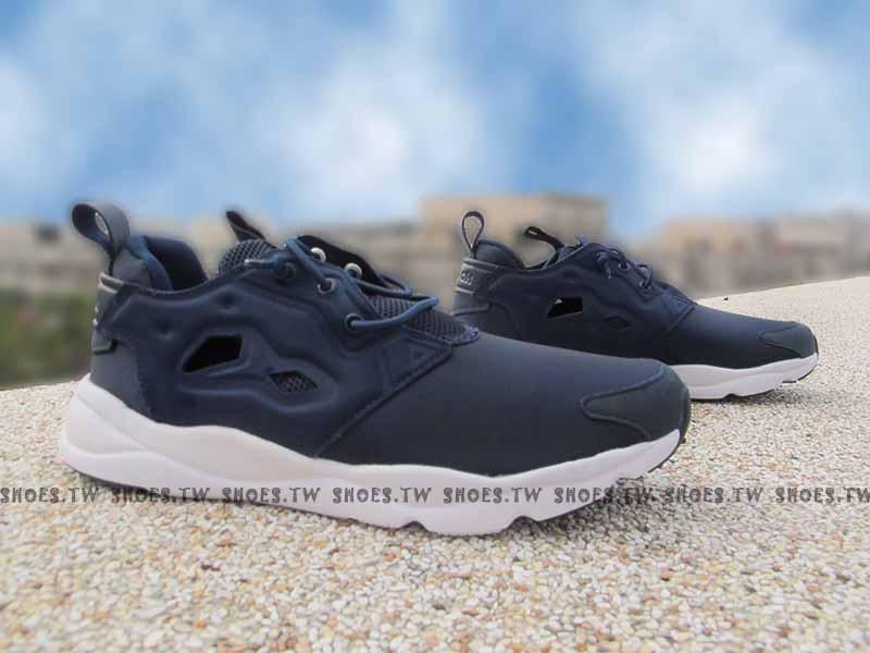 Shoestw【AQ9505】Reebok FuryLite 海軍藍 襪套 大童 女生可穿