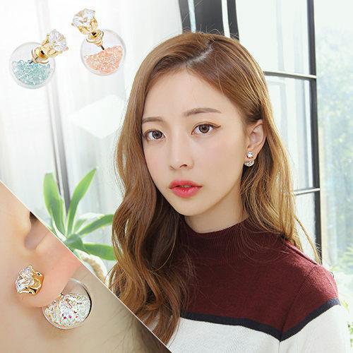 PS Mall 韓版 超閃鋯石水鑽七彩玻璃球氣泡雙面耳釘 耳環【G1896】