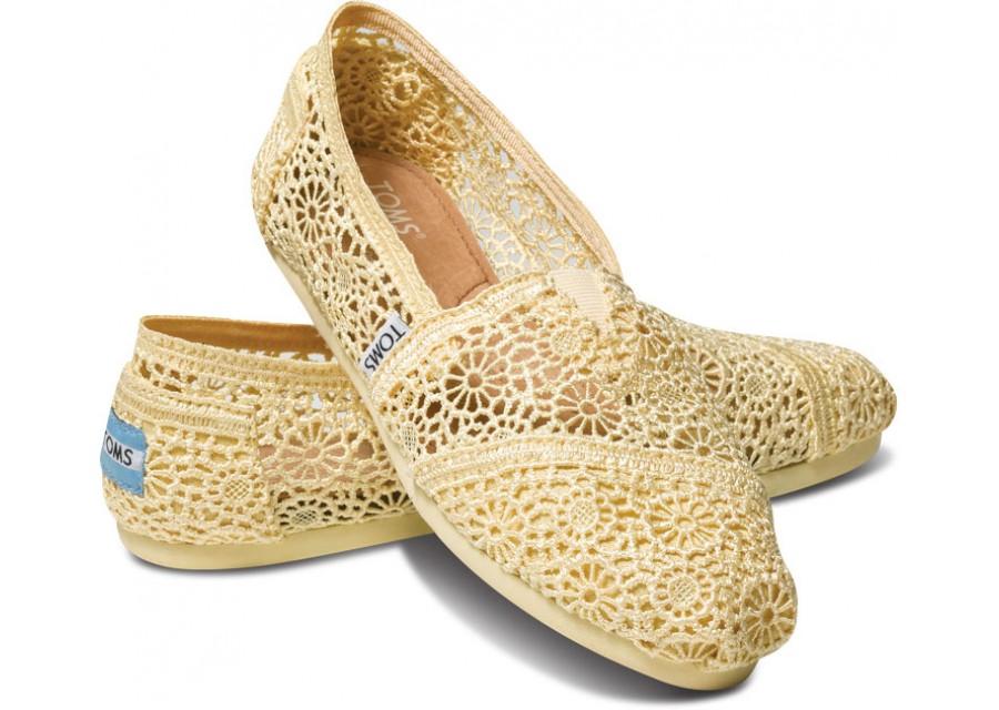 [Anson king]國外代購TOMS 帆布鞋/懶人鞋/休閒鞋/至尊鞋 蕾絲系列  黃色 女款