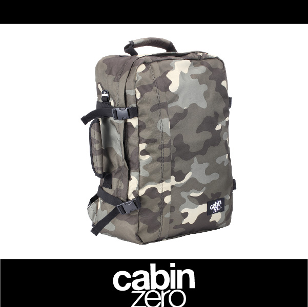 【買就送隨身腰包】CABIN ZERO 161-CZ061306 輕量44L後背包 登機 假期 公事 手提 多用途 可上密碼鎖 國際背包身分證 迷彩色 萬特戶外運動