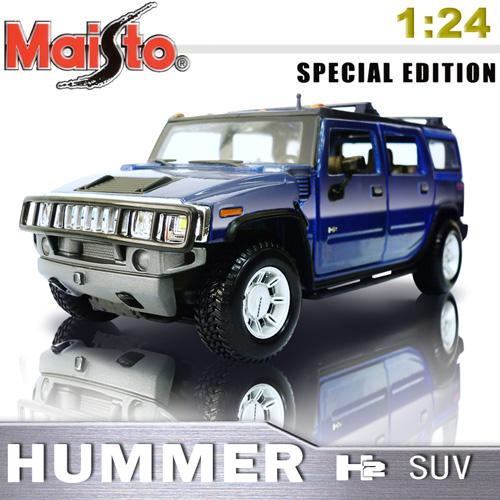 【Maisto】HUMMER H2 SUV《1/24 》合金模型車 -藍色