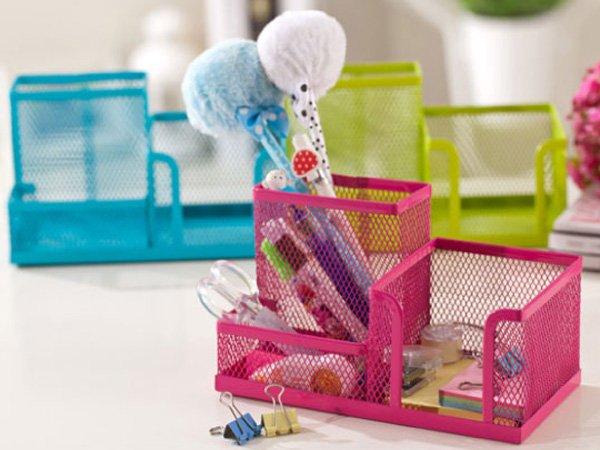 BO雜貨【SV6136】韓國 桌面彩色鐵網組合筆筒 創意辦公桌面收納 化妝品 學生文具書辦公廚房整理儲物收納盒架