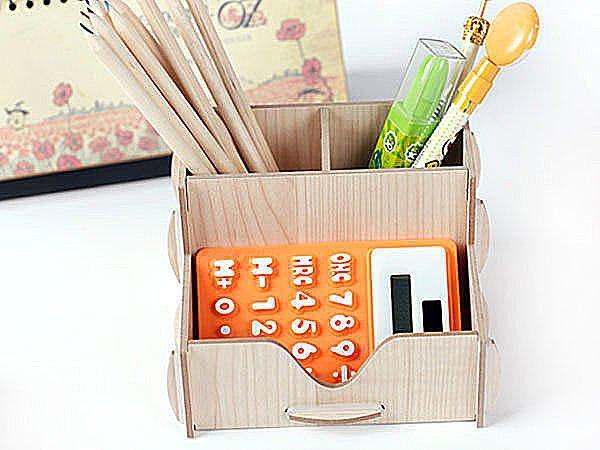 BO雜貨【SV3743】無印風 極簡 簡單 原木 木頭 木質DIY三格組合筆筒 筆收納 桌面收納