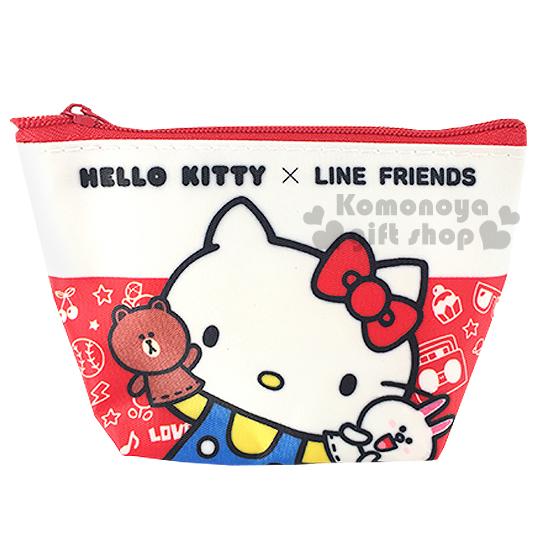 〔小禮堂〕Kitty X Line 拉鍊零錢包《白紅.站姿.手偶》