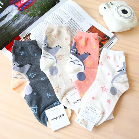 韓國 龍貓星星造型四分襪 短襪 襪子 造型襪 流行襪 豆豆龍 Totoro 宮崎駿 吉卜力 日本【N201115】