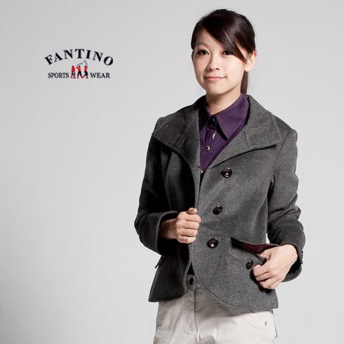 【FANTINO】喀什米爾羊毛*超保暖*剪裁合身西裝羊毛外套,需乾洗(混灰色)085201