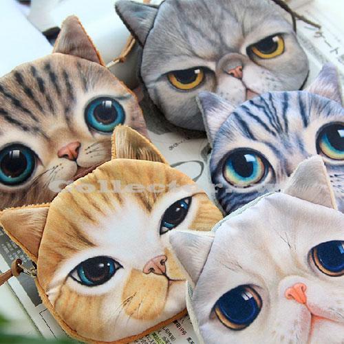 【G14072701】日本複古原宿喵星人零錢包 創意大臉貓頭化妝包 可愛毛絨貓咪卡包