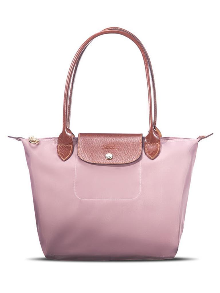 [2605-S號] 國外Outlet代購正品 法國巴黎 Longchamp 長柄 購物袋防水尼龍手提肩背水餃包石英粉色