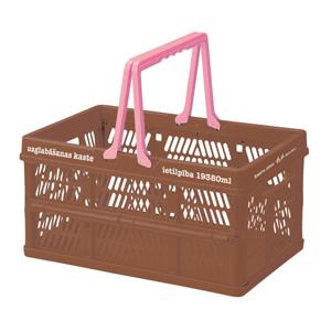 日本Everyday 「露營雜貨」小型伸縮摺疊收納籃-棕色「新品」
