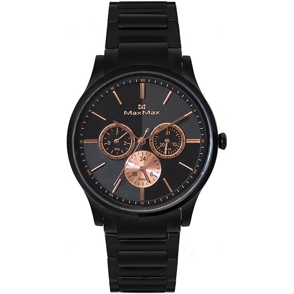 Max Max MAS70103J-1酷黑三眼時尚腕錶/黑面38mm