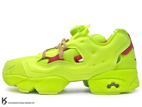 [20% OFF] 2016 台灣未發售 限量登場 紐澤西鞋舖 PACKER SHOES x REEBOK INSTA PUMP FURY OG DIVISION EXCLUSIVE 聯名款 男鞋 黃紅 螢光黃 1994 原版色混合 充氣 鞋帶 (AR3497) !