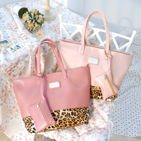 【Aimee包包屋】Pink Panther☆白巧克力冰淇淋‧粉紅頑皮豹紋包《深粉、淡粉》☆托特包