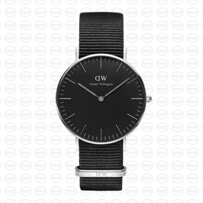 36MM 0151DW 黑錶面銀邊 簡約尼龍錶帶 瑞典正品代購 Daniel Wellington 對錶手錶腕錶