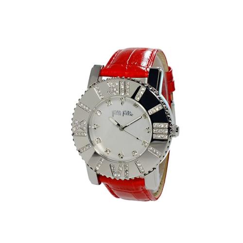 Folli Follie 華麗晶鑽亮彩腕錶/紅色/WF5T042SSS