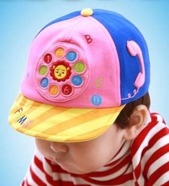Funnimals◆萌版超Q可愛獅子電話轉盤撥號兒童鴨舌帽-粉色