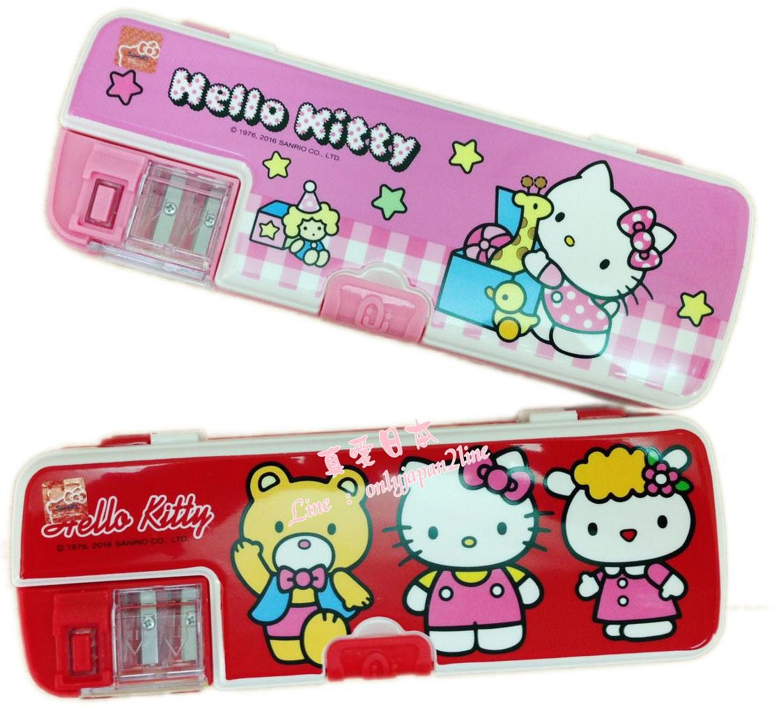 【真愛日本】16081600014雙筆削筆盒-2色   三麗鷗 Hello Kitty 凱蒂貓    收納 筆盒