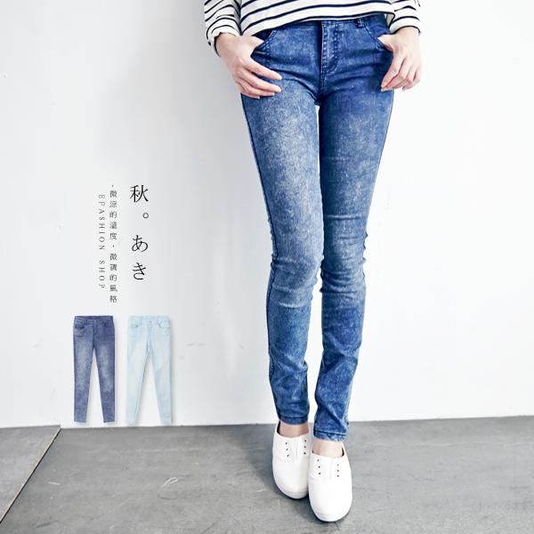 ★秋冬現貨★eFashion 窄管褲單釦後鬆緊彈性牛仔褲-2色SML 【A10580360】