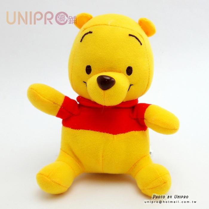 【UNIPRO】迪士尼 小熊維尼 Winnie the Pooh 經典坐姿 絨毛玩偶 娃娃 14cm高