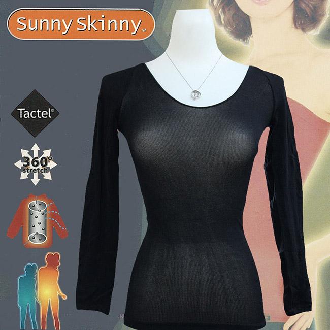 ★姐姐當家推薦★【日本Sunny Skinny】光電子彈性恆溫保暖衣/黑色9分袖(GS-033961)
