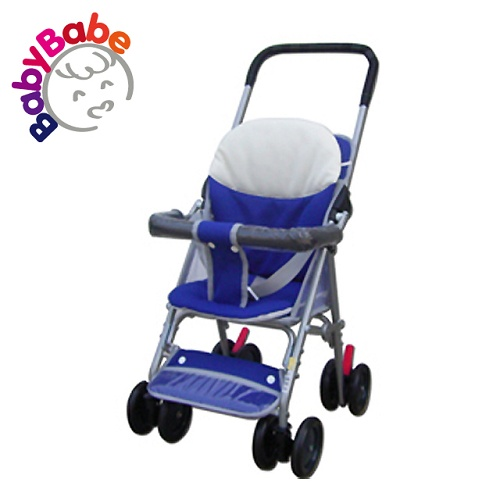 【BabyBabe】輕便型附睡墊手推車/藍