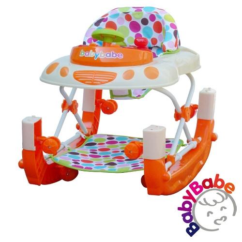 【BabyBabe】多功能汽車嬰幼兒學步車-橘