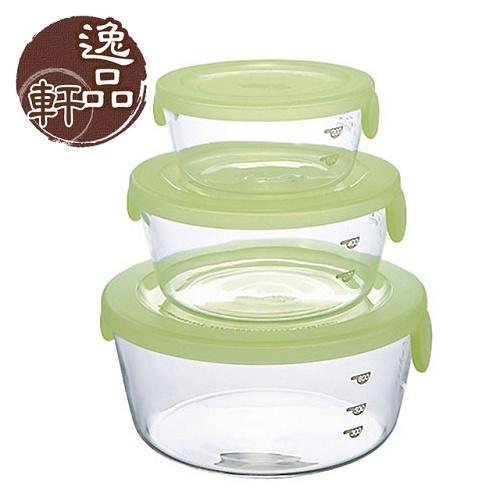 《逸品軒》 日本HARIO耐高溫玻璃保鮮盒3入組【微波爐用】-綠(HO-SYT-2418CG)