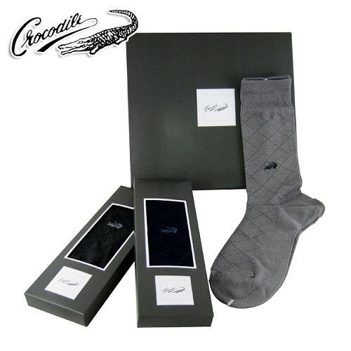 【Crocodile】紳士襪組-菱格紋款 (三入/盒)(0815)