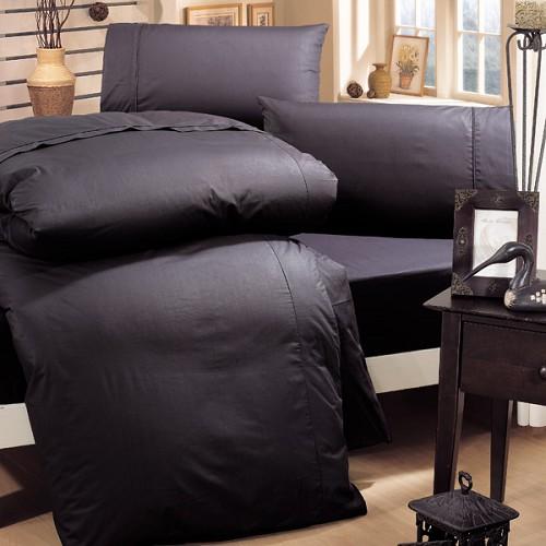《HongYew》輕‧糖果色系素面  單人二件式床包組─黑色主張 1165_S05