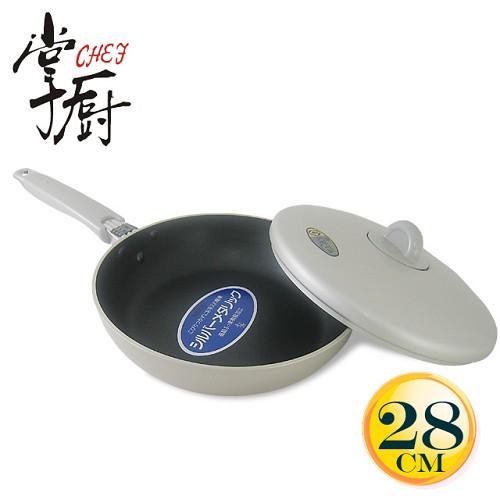 《掌廚》日本理研附蓋平底鍋(28cm)(LO-28F)送耐熱鍋鏟(A0340-01)