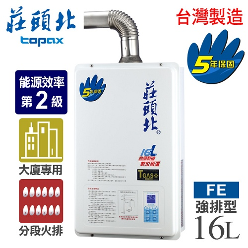 【莊頭北】16L數位恆溫分段火排強制排氣熱水器/TH-7166FE(LPG/FE式桶裝瓦斯)TH-7166(LPG)