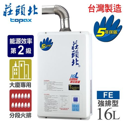 【莊頭北】16L數位恆溫分段火排強制排氣熱水器/TH-7166FE(NG1/FE式天然瓦斯)TH-7166(NG)