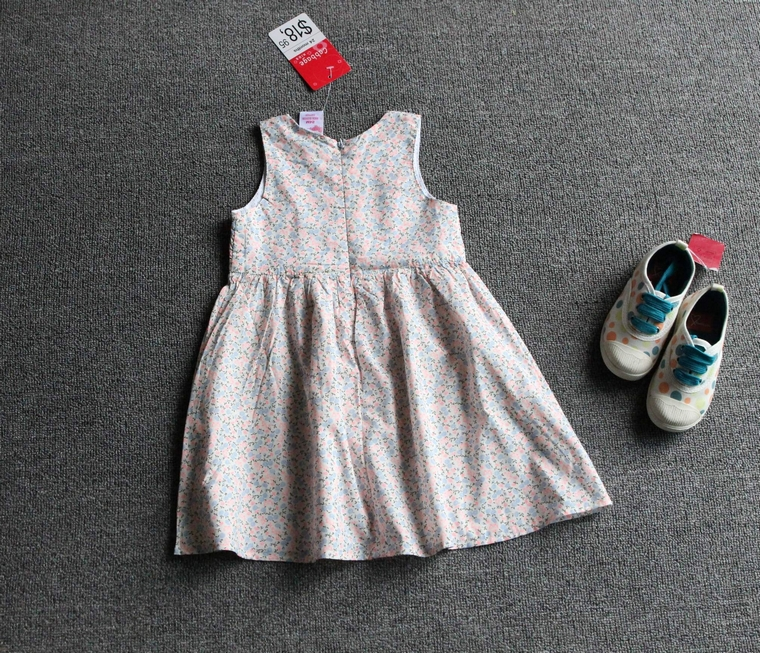 EMMA商城~女童夏季田園風碎花圓領無袖連身裙兒童洋裝(18個月~5歲)