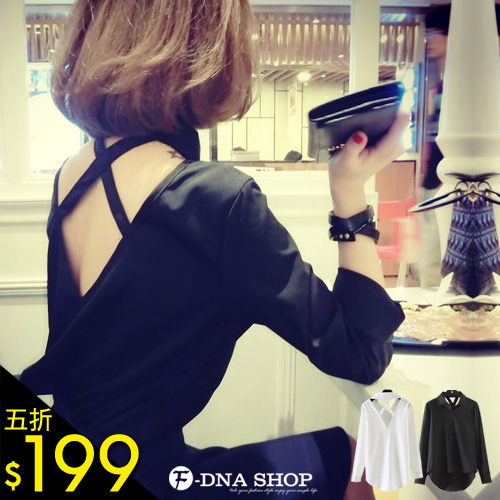 F-DNA★後交叉V領長袖襯衫(2色)【ESD1260】