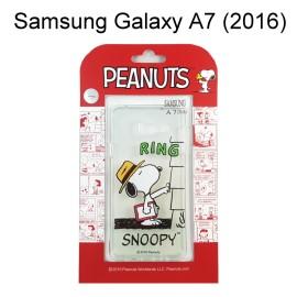 SNOOPY 史努比透明軟殼 [RING] Samsung A710Y Galaxy A7 (2016)【台灣正版授權】